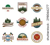 vector set of sawmill labels ... | Shutterstock .eps vector #298066277