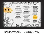 restaurant cafe menu  template... | Shutterstock .eps vector #298090247