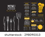 restaurant cafe menu  template... | Shutterstock .eps vector #298090313