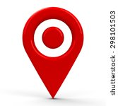 red map pointer with dot in the ... | Shutterstock . vector #298101503