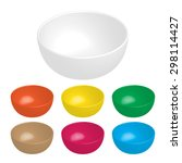mix color ceramic bowl on white ... | Shutterstock .eps vector #298114427