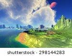 sea  rocks and moon. landscape... | Shutterstock . vector #298144283
