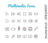 multimedia thin linear icons... | Shutterstock .eps vector #298169057