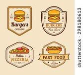 vector vintage fast food logos... | Shutterstock .eps vector #298180613