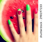 Nail Art Manicure. Watermelon...