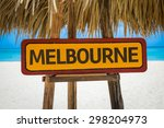 melbourne sign with beach...