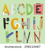alphabet with office supply... | Shutterstock .eps vector #298210487