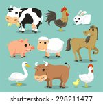 farm animals like cow  rooster  ... | Shutterstock .eps vector #298211477