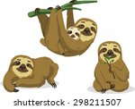 sloth rain forest two toed lazy ... | Shutterstock .eps vector #298211507