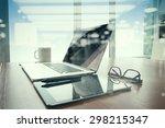 double exposure of office... | Shutterstock . vector #298215347