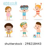 kids on the beach   kids... | Shutterstock .eps vector #298218443