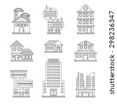 buildings icons | Shutterstock .eps vector #298236347