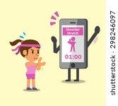 cartoon smartphone helping a... | Shutterstock .eps vector #298246097