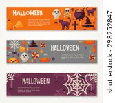 halloween horizontal banners or ... | Shutterstock .eps vector #298252847