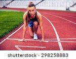 fitness woman on stadium... | Shutterstock . vector #298258883