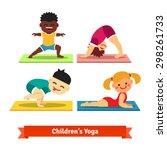 kids doing yoga poses on... | Shutterstock .eps vector #298261733