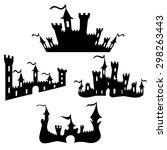 Vector Black Castle Silhouette...