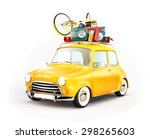 retro car with luggage. unusual ... | Shutterstock . vector #298265603