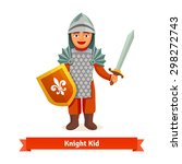 cheerful kid in knights armour... | Shutterstock .eps vector #298272743