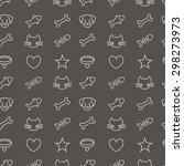 Stock vector pets line icons on black background vector seamless pattern 298273973