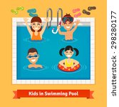 kids having fun and swimming in ... | Shutterstock .eps vector #298280177