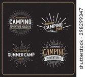 set of vintage summer camp... | Shutterstock .eps vector #298299347