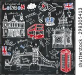 Постер, плакат: Vector London landmark symbols