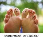 smiley faces on a pair of feet... | Shutterstock . vector #298308587