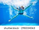 little girl creates bubbles... | Shutterstock . vector #298334063