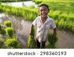 little smiling boy farmer  on... | Shutterstock . vector #298360193