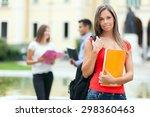 groups of happy college... | Shutterstock . vector #298360463