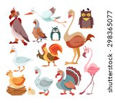 Big Set Of Cute Cartoon Birds...