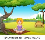 woman sitting under a tree in a ... | Shutterstock .eps vector #298370147