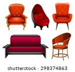different kinds of chairs in red | Shutterstock .eps vector #298374863