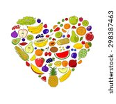 heart from fruits and berries.... | Shutterstock .eps vector #298387463