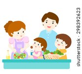 happy family cook healthy food... | Shutterstock .eps vector #298392623