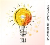light bulb sketch with concept... | Shutterstock .eps vector #298406237