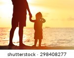 silhouettes of father and... | Shutterstock . vector #298408277
