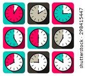 retro flat design clock set