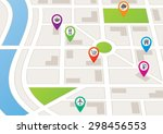 a city map with location markers | Shutterstock .eps vector #298456553
