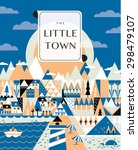 little town street with small... | Shutterstock .eps vector #298479107