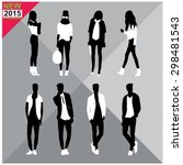 editable silhouettes set of men ... | Shutterstock .eps vector #298481543