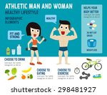 athletic man and woman... | Shutterstock .eps vector #298481927