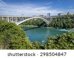 the rainbow bridge spans the...   Shutterstock . vector #298504847