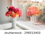 vase with pink and red roses in ... | Shutterstock . vector #298513403