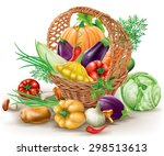 different vegetables in brown... | Shutterstock .eps vector #298513613
