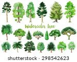 watercolor trees collection | Shutterstock .eps vector #298542623