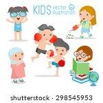 happy cartoon kids  kids... | Shutterstock .eps vector #298545953