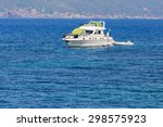 campers with tents on the boat... | Shutterstock . vector #298575923