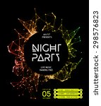 Night Disco Party Poster Background Template - Vector Illustration | Shutterstock vector #298576823